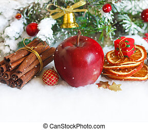 Christmas. - Christmas composition with red winter apple and...