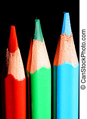 pencils on black - colour pencils on black macro close up