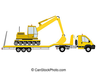 Truck and excavator - Silhouette of yellow truck with...