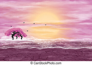 Fantasy landscape in yellow and pink colors