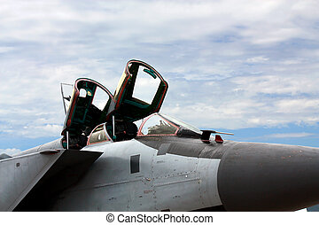 Cockpit of the military jet
