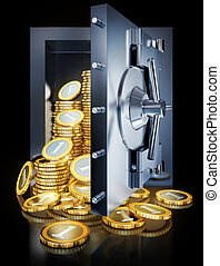 savings - high resolution 3D rendering of a bank vault