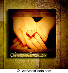 Christmas greeting cards, chocolate hearts in the hands,...
