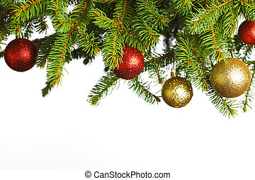 Christmas decoration on fir branch isolated on white...