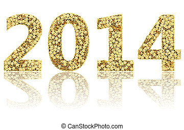 2014 digits composed of small golden stars on glossy white...