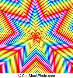 Star shape composed of colorful metallic pipes. High...