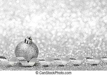Christmas decoration - Silver Christmas decoration ball and...
