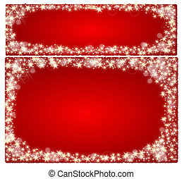 Frame christmas card on a red background with stars