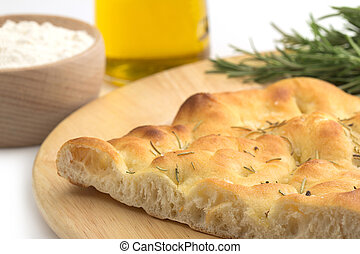 close up of a slice of focaccia bread