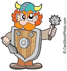 viking, guerreira, zangado