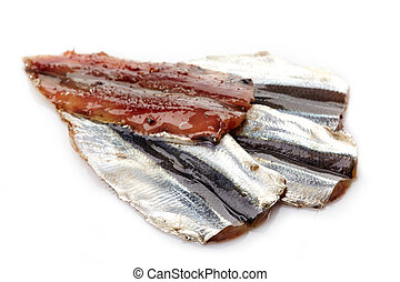 salted anchovies on a white background