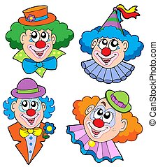 Clowns head collection - isolated illustration.