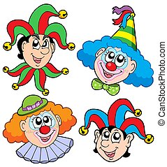 Clowns head collection 2 - isolated illustration.