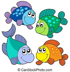 Cute fishes set - isolated illustration.