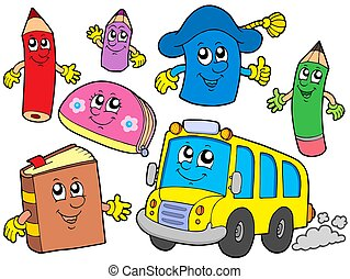 Cute school illustrations collection - isolated illustration...