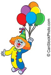 Flying clown with balloons - isolated illustration