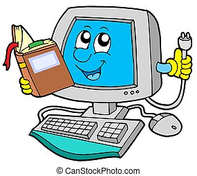 IT computer with book - isolated illustration.