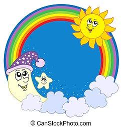 arco íris, círculo, lua, estrela, sol
