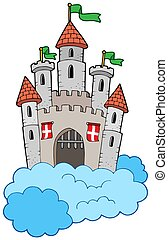 Medieval castle on clouds - isolated illustration