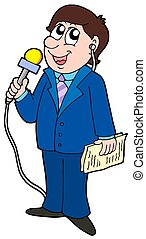 TV reporter with microphone - isolated illustration.
