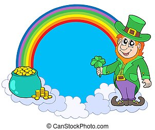 Rainbow circle with leprechaun - isolated illustration.