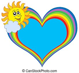 Rainbow heart with Sun - isolated illustration