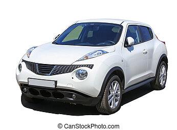 white SUV isolated on white background