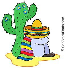 Resting mexican - isolated illustration.