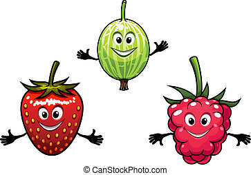 Gooseberry, raspberry and strawberry berries in cartoon...