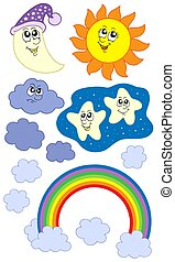 Sun Moon and weather collection - isolated illustration
