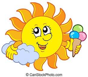 Sun with icecream - isolated illustration