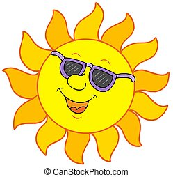 Sun with sunglasses - isolated illustration.