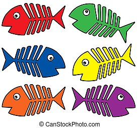 Various colors fishbones - isolated illustration.