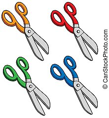 Various colors scissors - isolated illustration