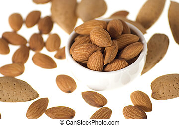 Almonds - Almond nuts isolated on pure white backgrouns
