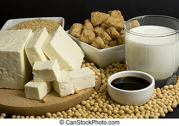Soy products - Various soy products used in vegetarian...