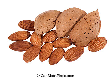Almonds - Pile of almonds isolated on white background