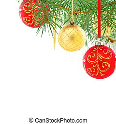 Red and gold Christmas balls. Collage. - Red and gold...