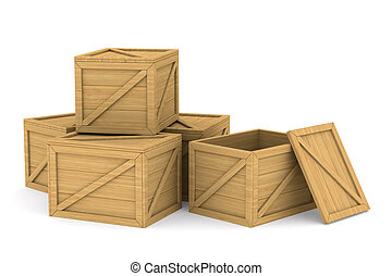 wooden boxes Isolated 3D image
