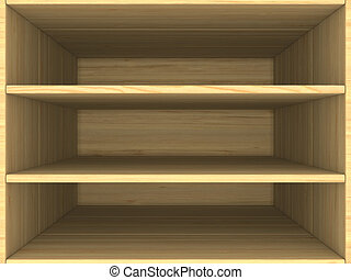 empty wooden box. 3D image