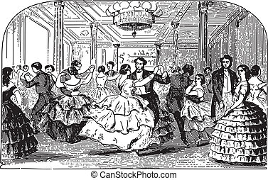 People dancing - Ancient engraving of people dancing at a...