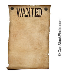 Wanted poster isolated Wild west background