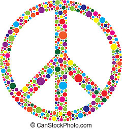 Peace Symbol with Polka Dots Illustration - Peace Symbol...
