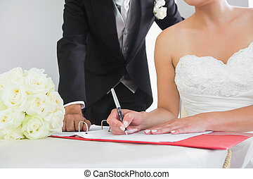 Mid section of a young couple signing wedding contract...