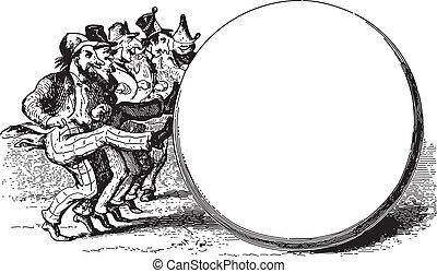 Circle kickers - Ancient engraving of a group of men kicking...