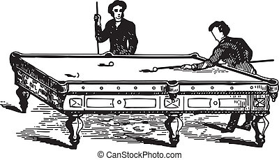 Men playing pool game - Ancient engraving of two men playing...
