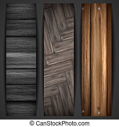 Wooden grey banner Vector illustration Eps 10