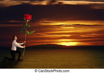 Man holds a rose before sundown