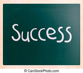 The word 'Success' handwritten with white chalk on a blackboard
