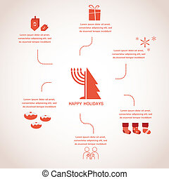 happy holidays, merry christmas and happy hanukkah. infographics